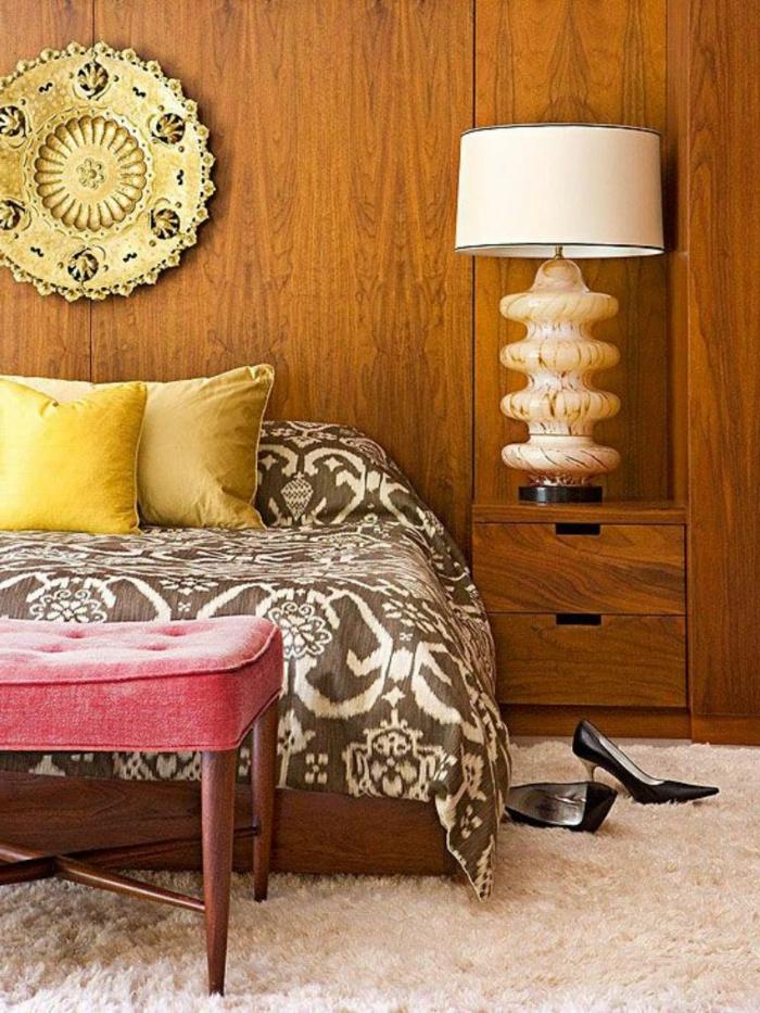 holz wandpaneele wanddeko schlafzimmer holzmöbel