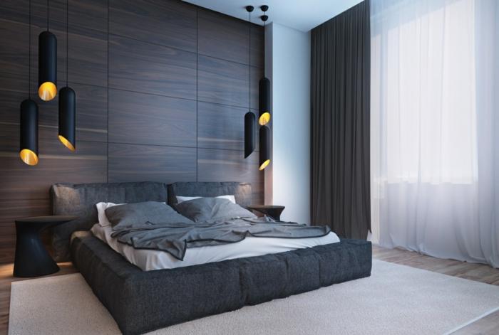 wandpaneele holz wohnideen schlafzimmer dunkle schattierungen pendelleuchten