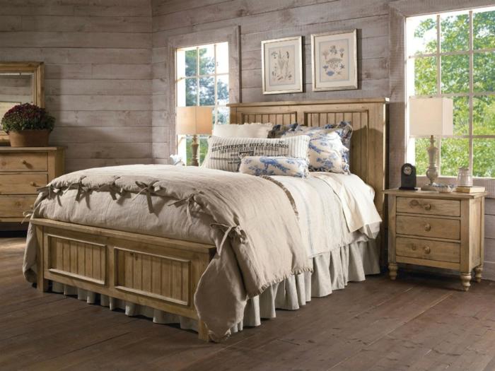 wandpaneele holz wohnideen schlafzimmer holzboden hölzerne möbel