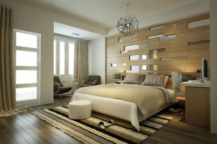 wandpaneele holz wohnideen schlafzimmer streifenteppich helle wände