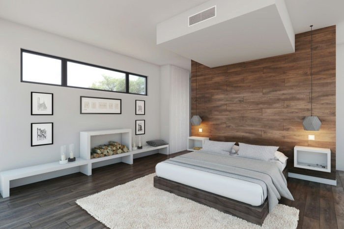 wandpaneele holz wohnideen schlafzimmer weißer teppich bodenfliesen
