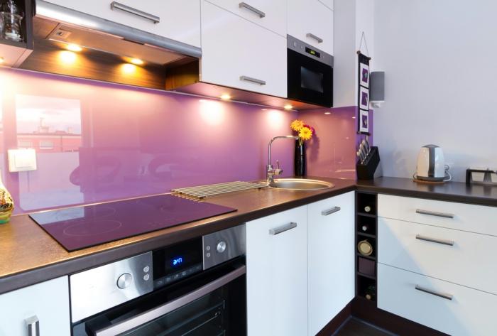 wandpaneele küche acryl farbig beleuchtung wohnideen küche