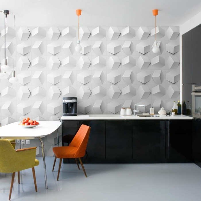 küchen wandpaneele ausgefallen 3d oberfläche farbige küchenstühle