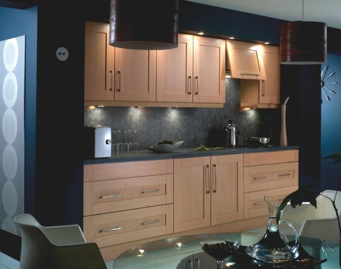 wandpaneele küche dunkel küchenschränke hell gläserner esstisch