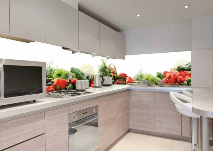 wandpaneele küche früchte küchenschränke wohnideen küche