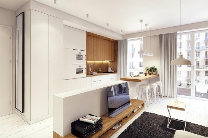 wandpaneele küche hölzern moderne küchenrückwand offene küche