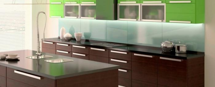 wandpaneele küche hellgrüne paneele braune küchenschränke