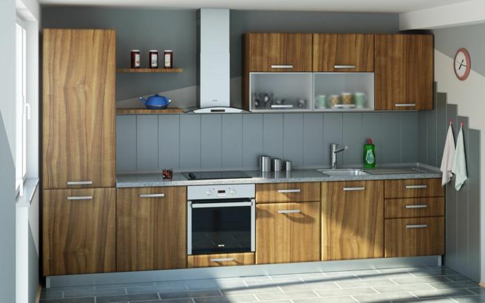 wandpaneele küche holz küchenschränke textur bodenfliesen