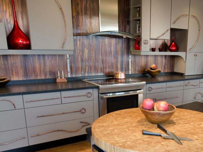 küchendesign wandpaneele holztextur runder esstisch wohnideen küche