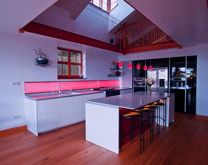 wandpaneele küche led beleuchtung küchentisch wohnideen küche