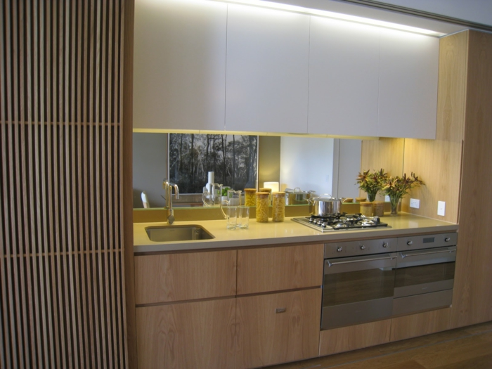 wandpaneele küche wohnideen küche pflanze spiegel