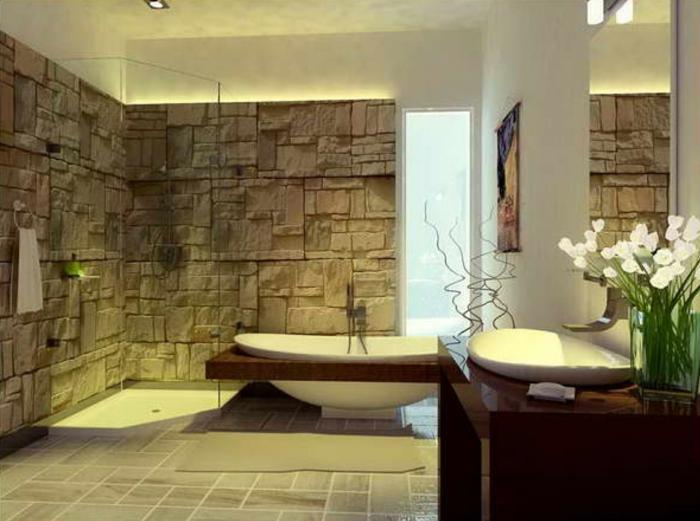wandpaneele steinoptik badezimmer badewanne bodenfliesen