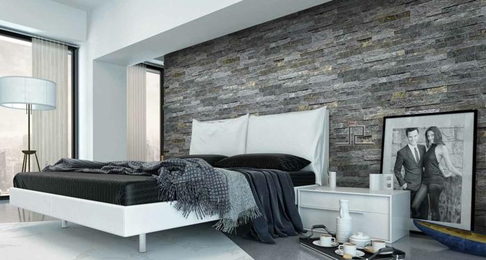 wandpaneele steinoptik schlafzimmer lange gardinen