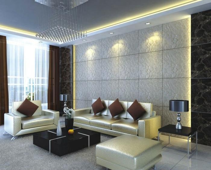 wandpaneele steinoptik wohnzimmer luxuriöse möbel led beleuchtung