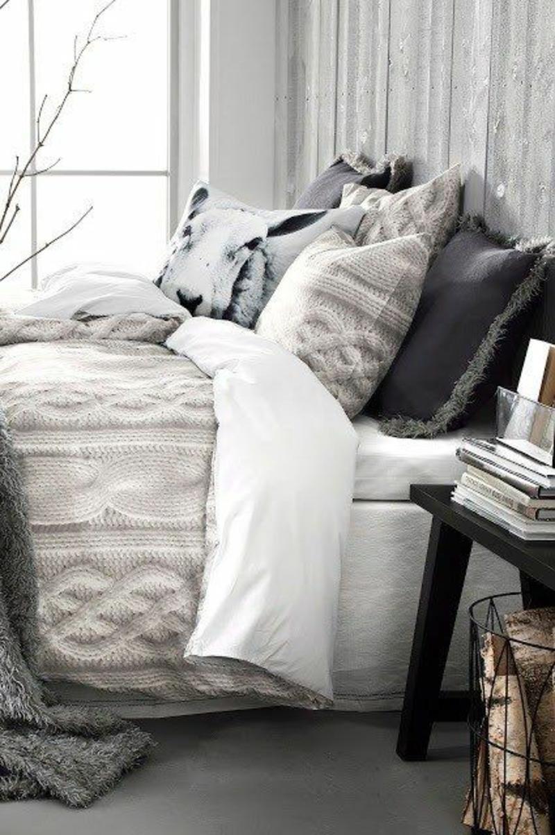 warme Bettwäsche gestrickt Winterbettwäsche Ideen