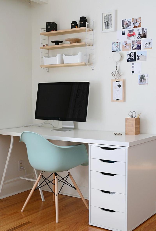 weiße Wandfarbe Arbeitszimmer Home Office skandinavisch einrichten