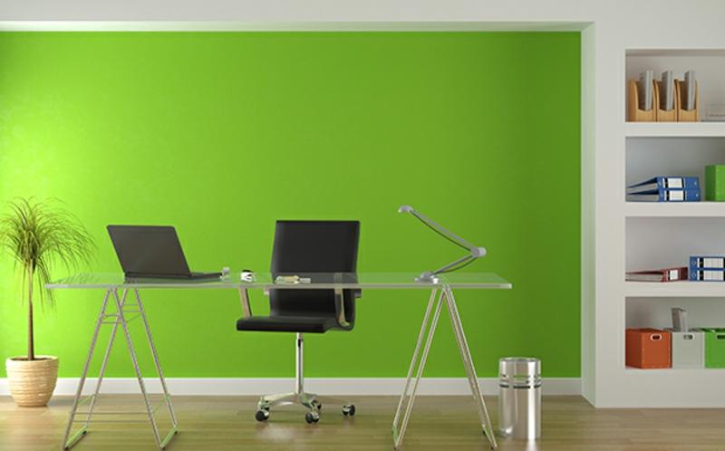 weiße Wandfarbe Arbeitszimmer einrichten frische grüne Wandfarbe