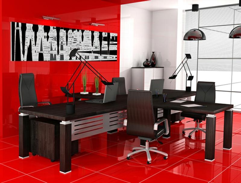 weiße Wandfarbe Arbeitszimmer gestalten Akzentwand rote Wandfarbe