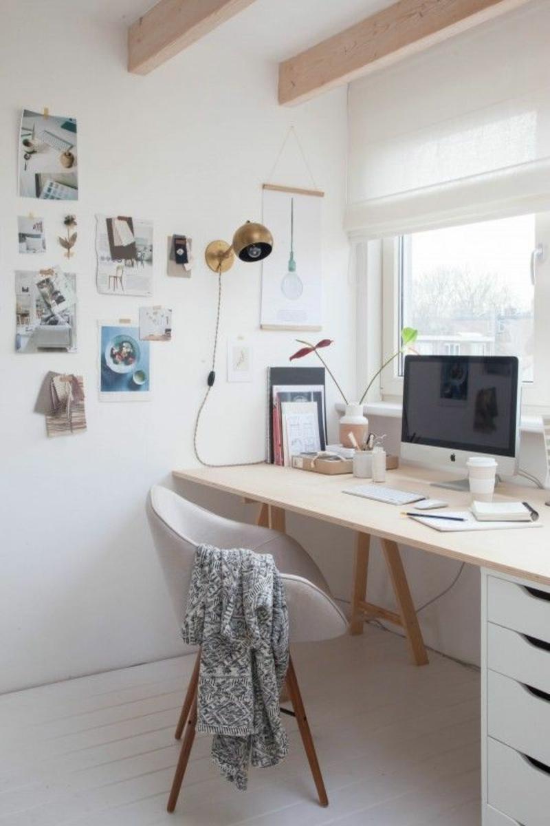weiße Wandfarbe Arbeitszimmer gestalten Wände weiß streichen und dekorieren