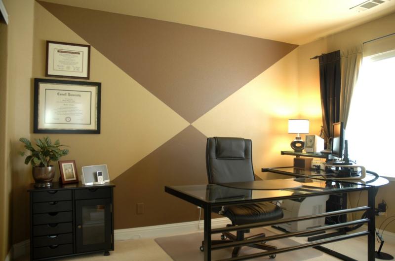 weiße Wandfarbe Arbeitszimmer gestalten Wand Brauntöne