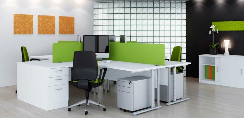 weiße Wandfarbe Arbeitszimmer gestalten Wanddeko in Orange