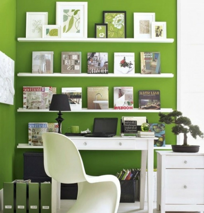 weiße Wandfarbe Arbeitszimmer gestalten Wandfarbe Grün