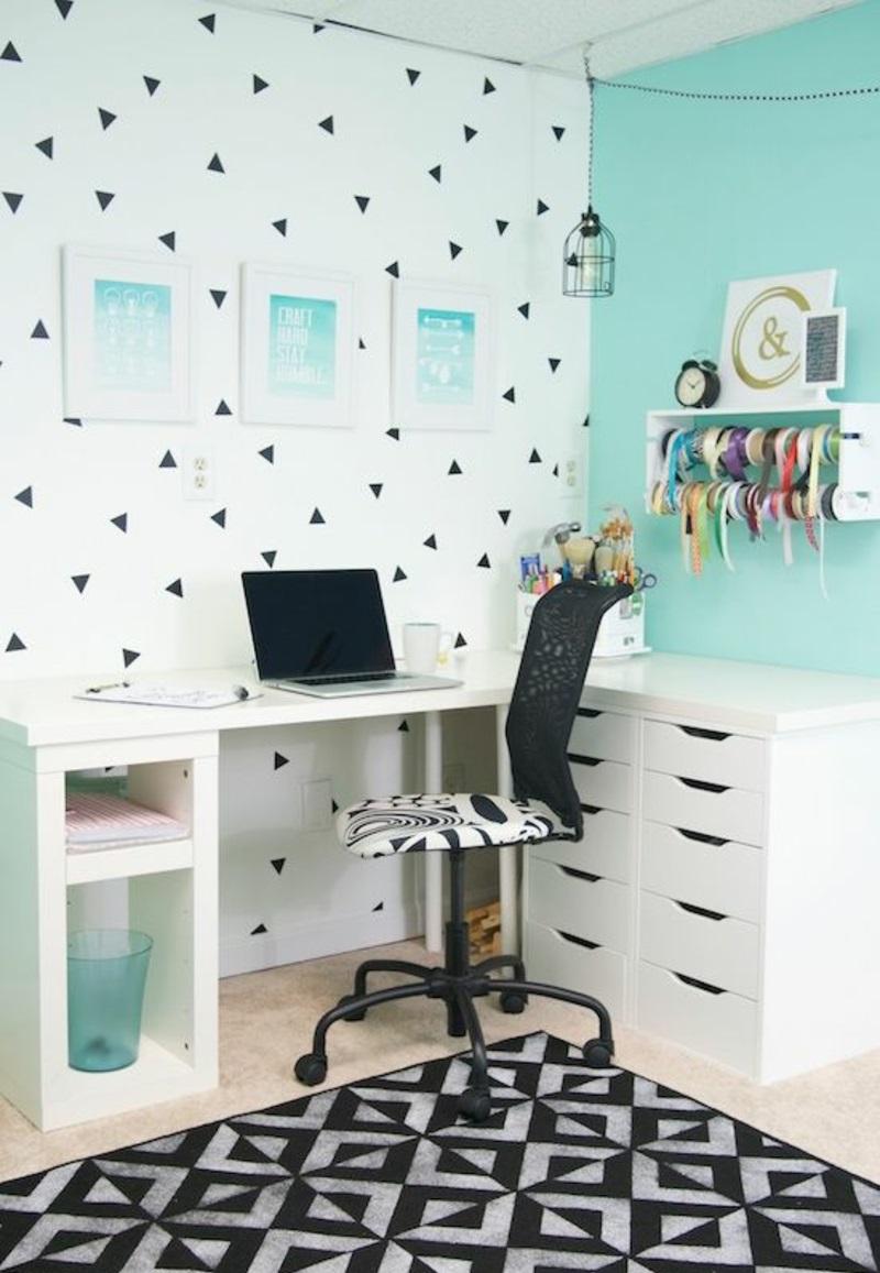 weiße Wandfarbe Arbeitszimmer gestalten Wandfarben mischen