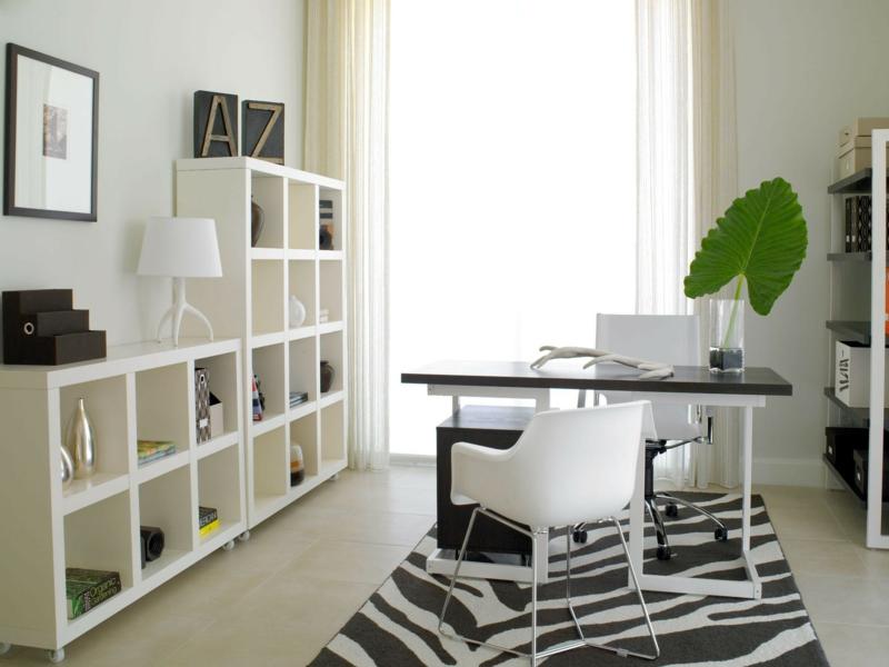 weiße Wandfarbe Arbeitszimmer gestalten Wandregale