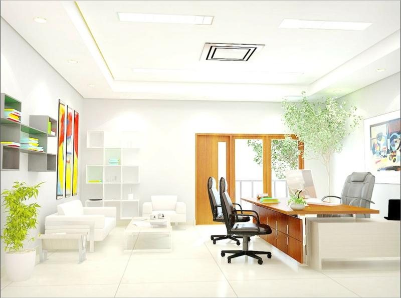 weiße Wandfarbe Arbeitszimmer gestalten