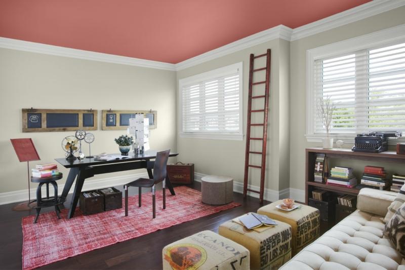 weiße Wandfarbe Deckenfarbe pink Home Office Wandfarben kombinieren