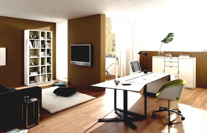 weiße Wandfarbe Home Office gestalten Wandfarbe Braun