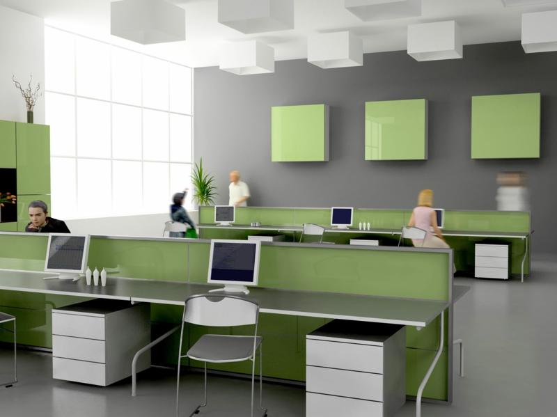 weiße Wandfarbe Office gestalten Wandfarbe Grau Büromöbel