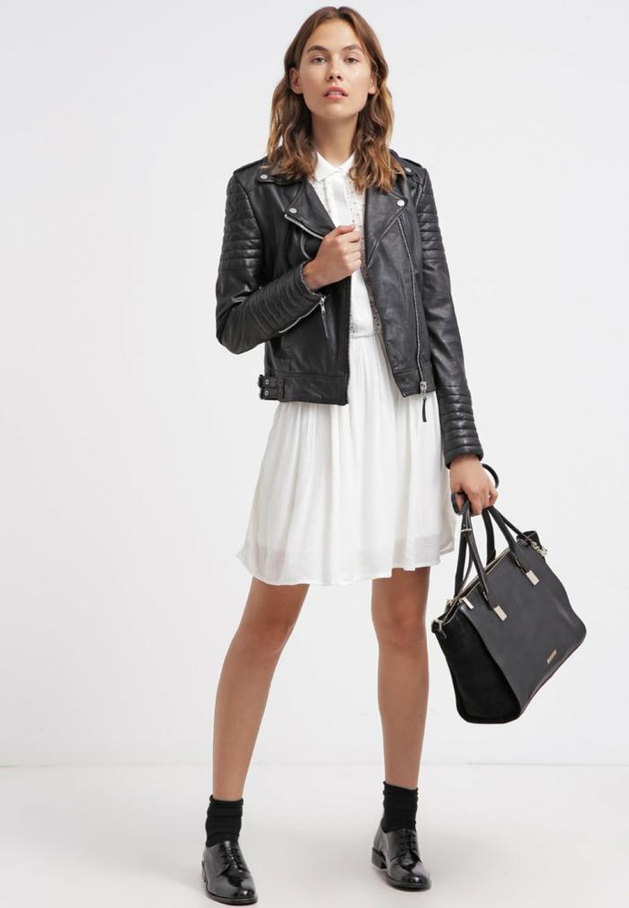 weiße klieder weißes kleid zalando damen mode lederjacke