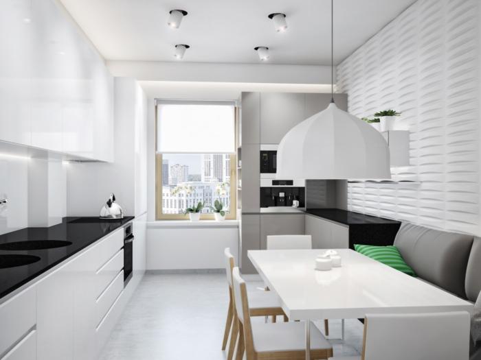 weiße wandfarbe küche essbereich fenster orchideen