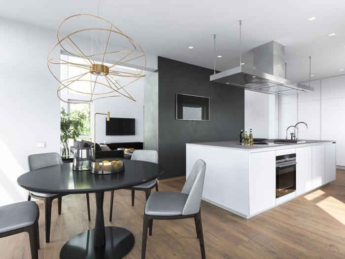 weiße wandfarbe küche essbereich schwarze möbel ausgefallener leuchter