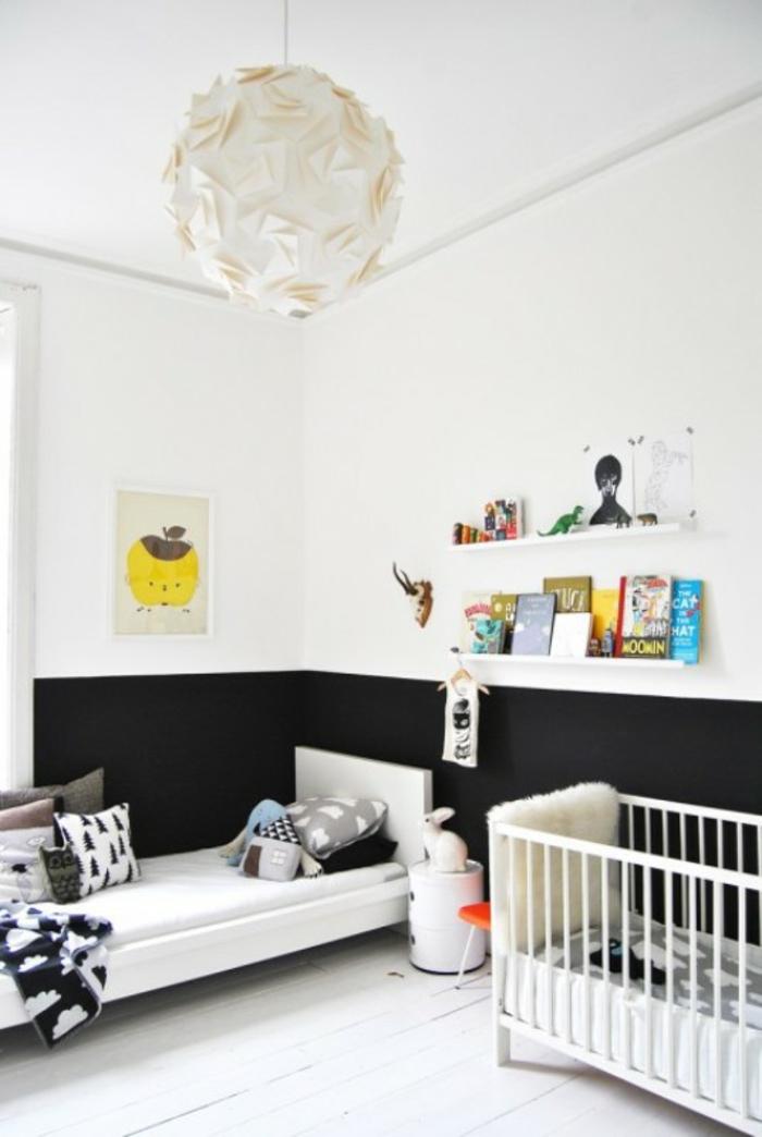 weiße wandfarbe kinderzimmer schwarze akzente wandregale