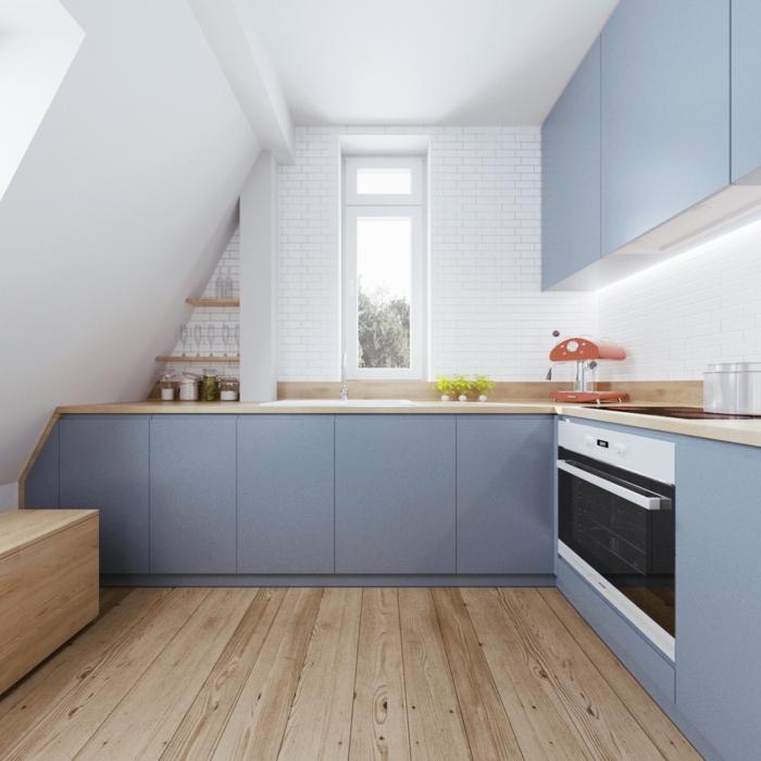 weiße wandfarbe wohnideen küche blaue küchenschränke holzboden
