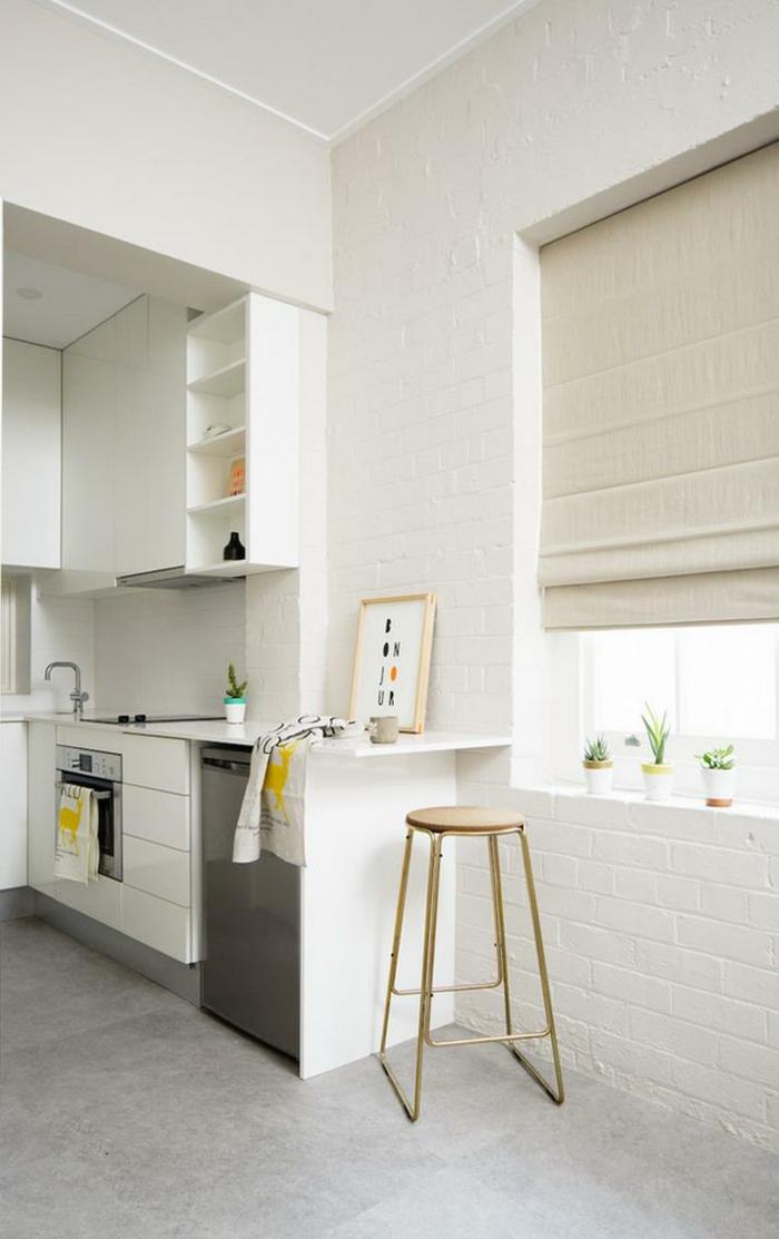 weiße wandfarbe wohnideen küche weiße ziegelwand hellgraue bodenfliesen