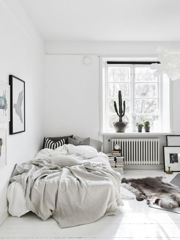 weiße wandfarbe wohnideen schlafzimmer fellteppich wanddeko