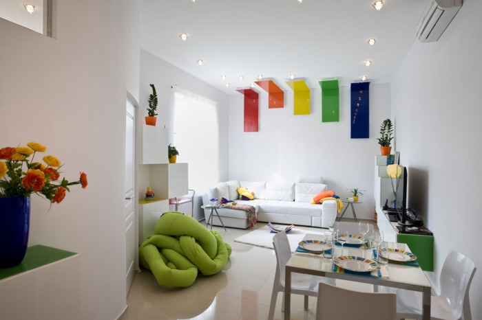 weiße wandfarbe wohnideen wohnzimmer farbige akzente