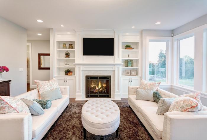 weiße wandfarbe wohnideen wohnzimmer kamin deckenbeleuchtung gemütlich