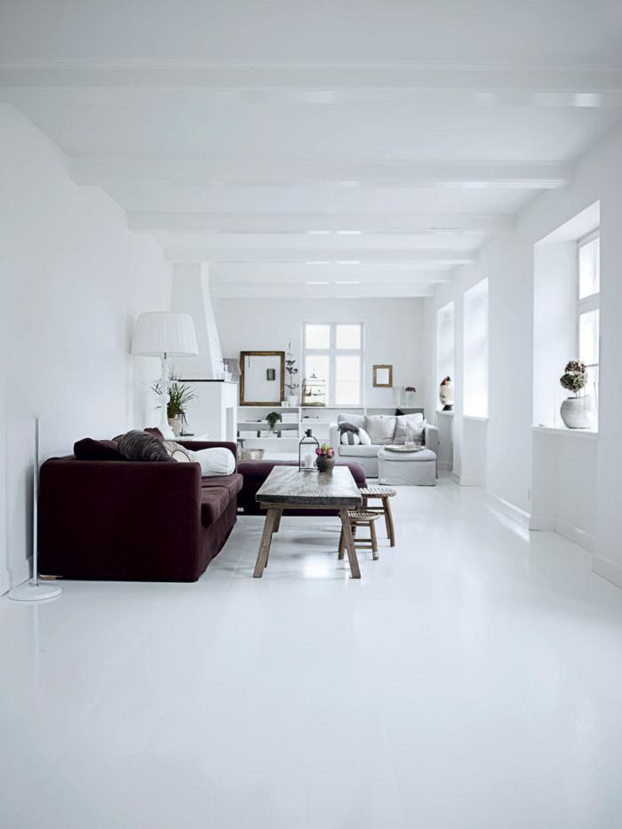 weiße wandfarbe wohnideen wohnzimmer rustikaler couchtisch schickes wohnzimmersofa