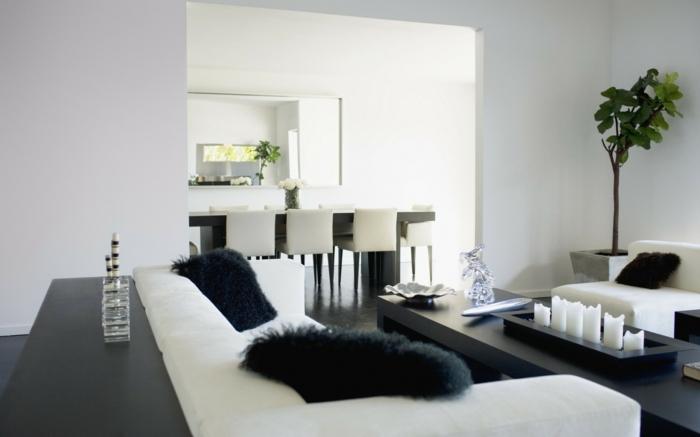 weiße wandfarbe wohnideen wohnzimmer schwarze akzente