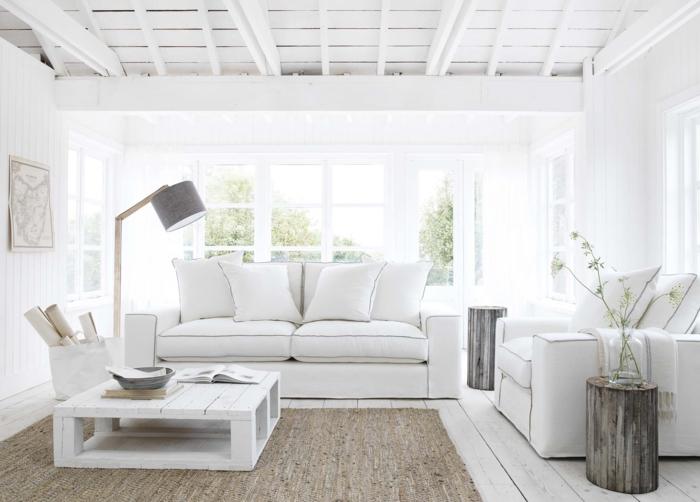 weiße wandfarbe wohnideen wohnzimmer sisalteppich rustikale elemente