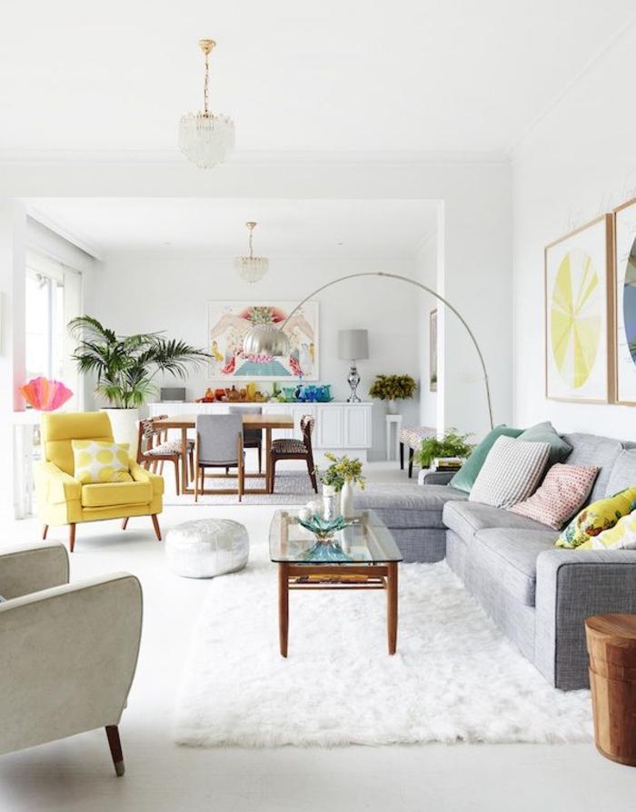 weiße wandfarbe wohnideen wohnzimmer teppich gelber sessel