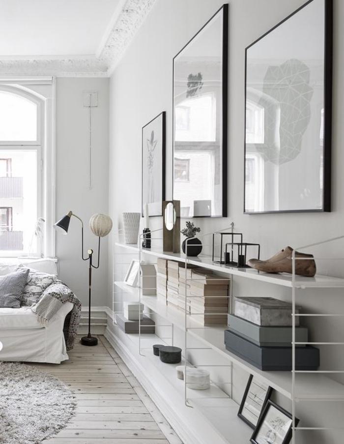 weiße wandfarbe wohnzimmer einrichtungsideen offene regale