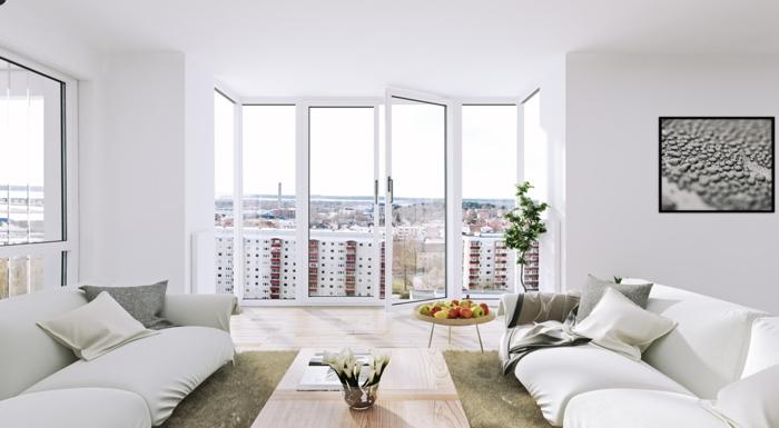 weiße wandfarbe wohnzimmer einrichtungsideen panoramafenster geräumig