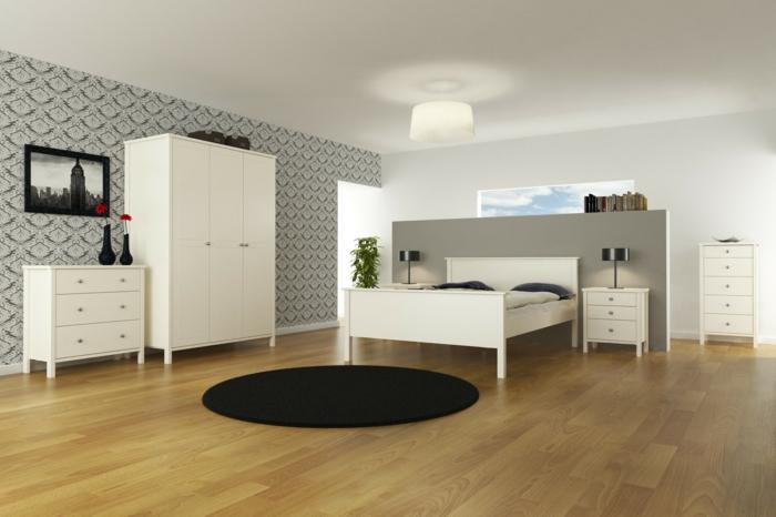 weißer kleiderschrank schlafzimmer runder teppich schwarz wandtapete