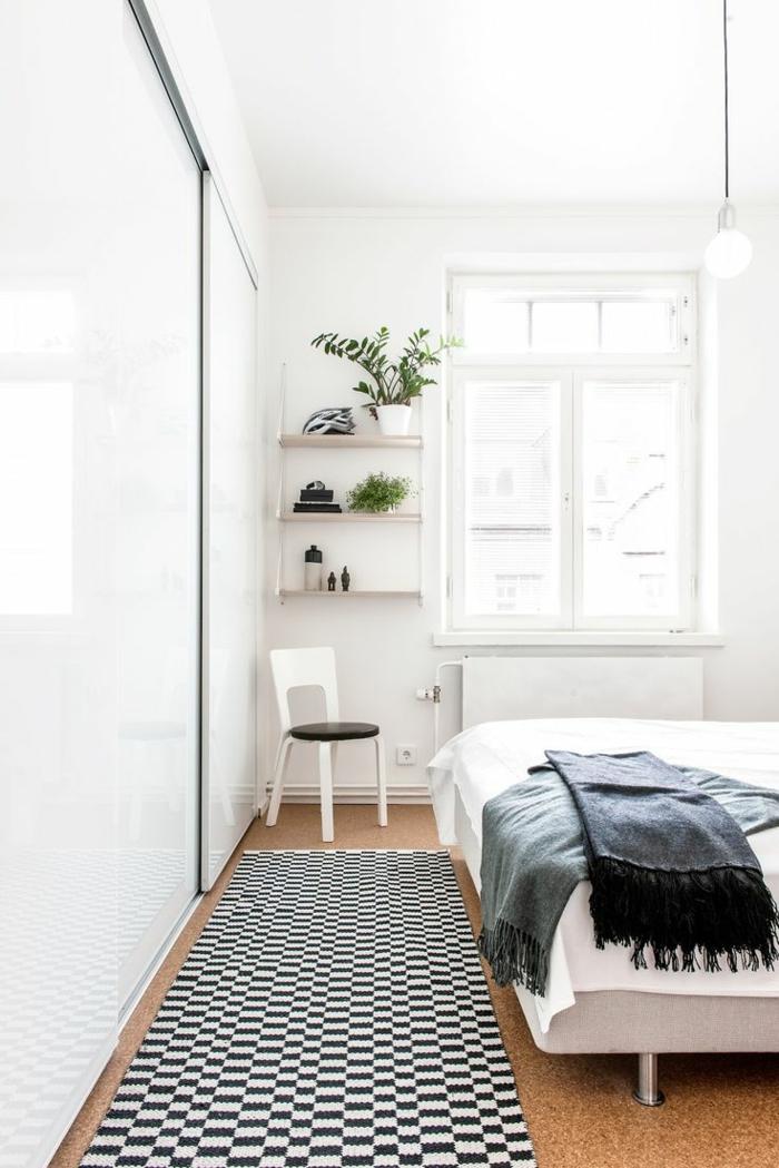 Weißer Kleiderschrank Schlafzimmer Schiebetürenschrank Schwarz Weißer  Teppichläufer Offene Regale