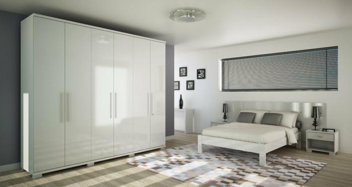 weißer kleiderschrank wohnideen schlafzimmer graue akzentwand